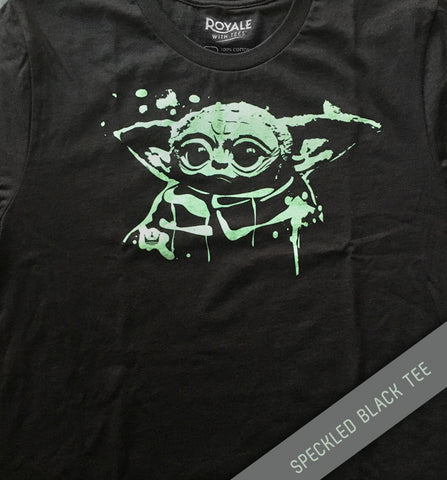 Baby Yoda Speckled Black Tee