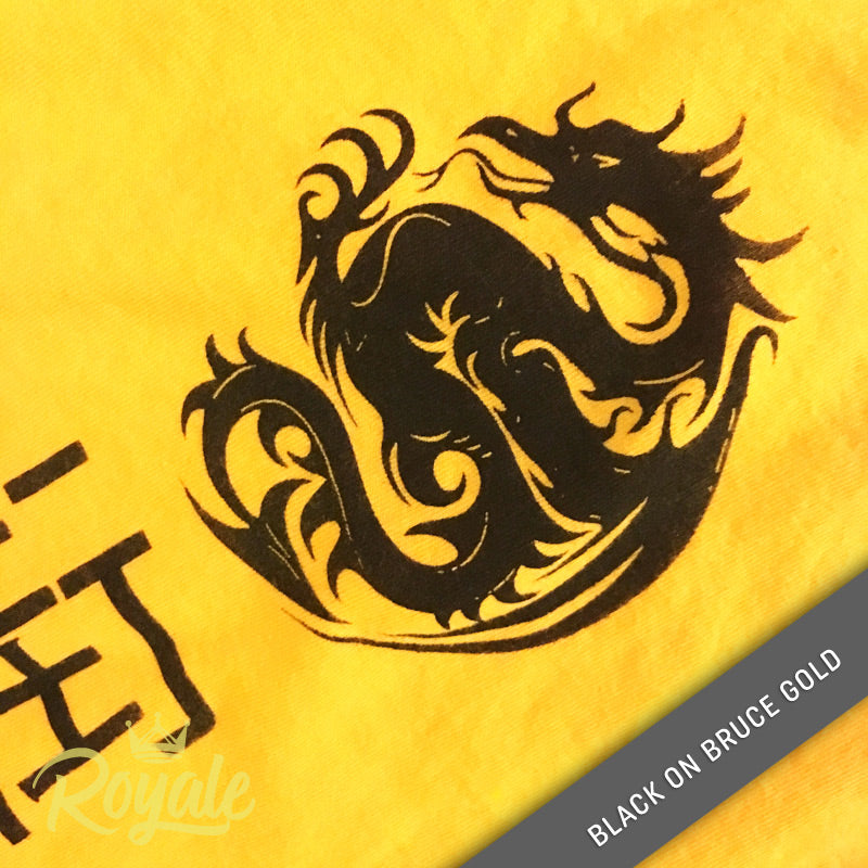Detail Chinatown Dragon Chinese Characters Black on Bruce Gold T-shirt