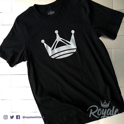 Royale Crown Trademark Tee Silver on Black