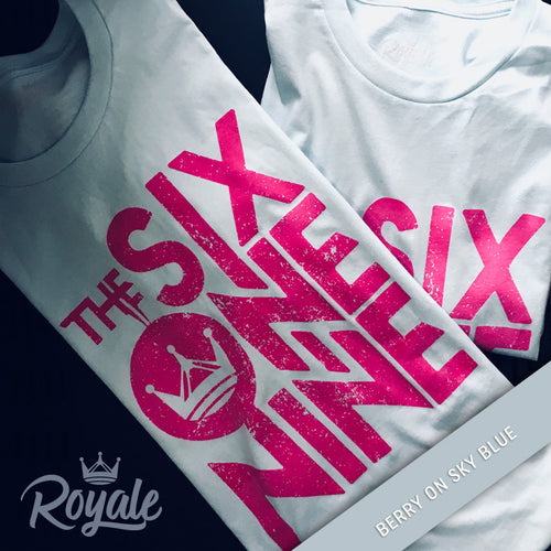 The Six One Nine 619 T-Shirt Berry on Sky Blue summer