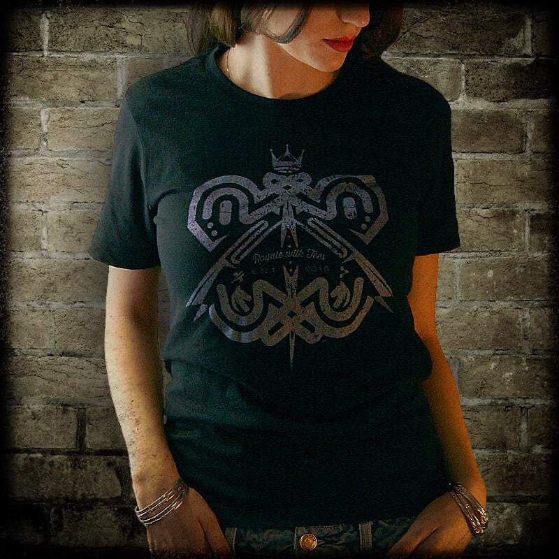 Royale with Tees™ Monarch Butterfly Tshirt Metallic Purple on Black