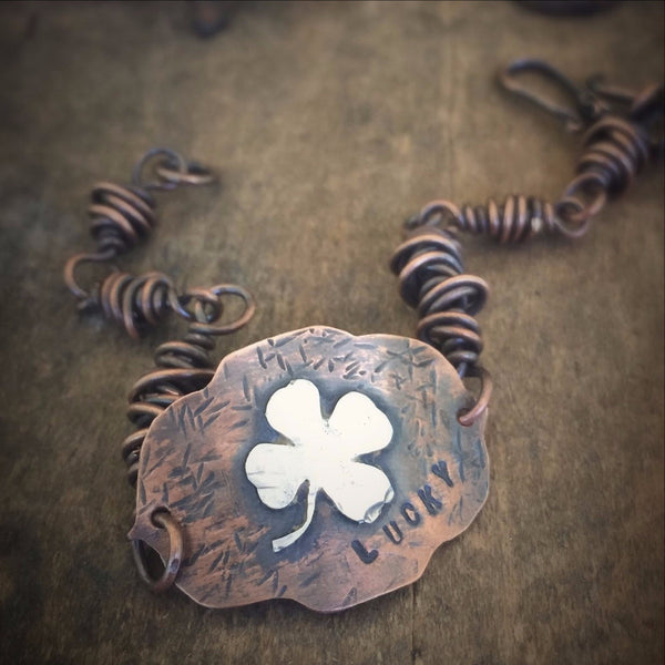 Lucky Four Leaf Clover Copper and Sterling Irish Shamrock Rustic Bracelet