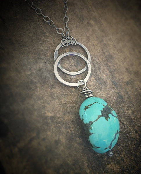 Turquoise Pendant, Soldered Sterling Ring Necklace, Large Turquoise Bead