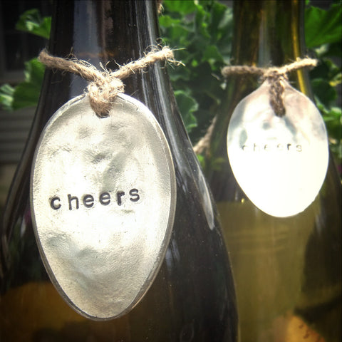 4 Wine Bottle Charms - Hand Stamped Spoon Set