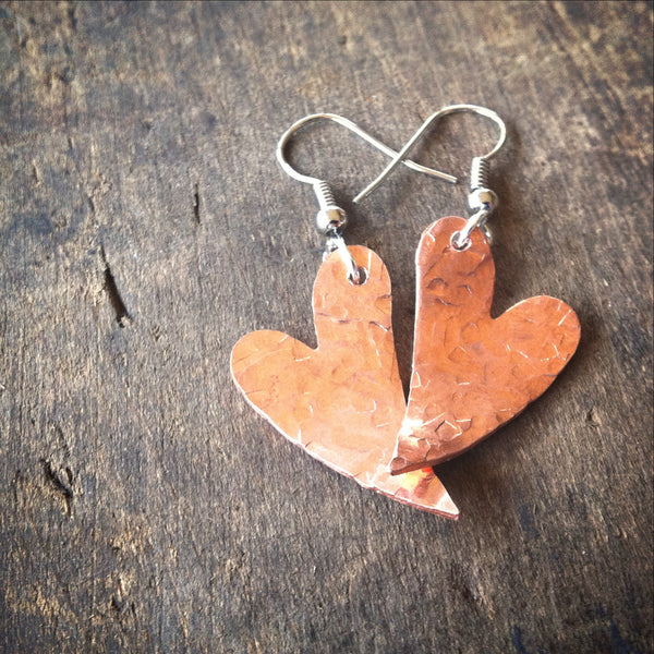 Two Hearts - Rustic Hammered Copper Earrrings - Great Gift