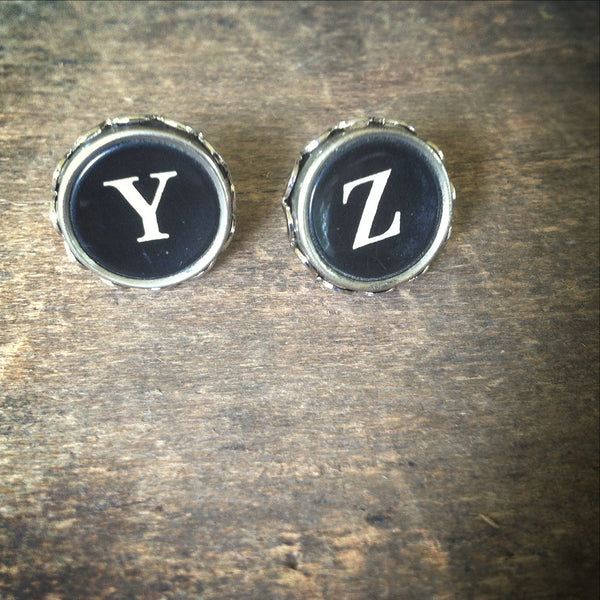 "Typewriter Key Earrings ""YZ"" - The End"
