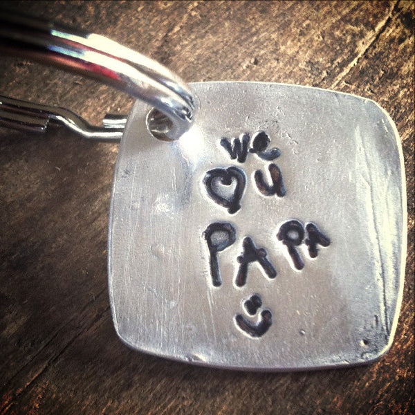 Actual Writing or Drawing on Fine Silver Keychain