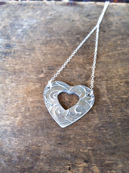 Mother Daughter Heart Necklace Set DOUBLE Layered Pendants in Fine Silver