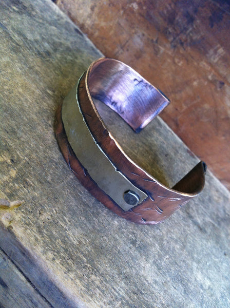 Roman Numeral Men's Cuff Bracelet - Personalized Copper Jewelry - Unisex Gift