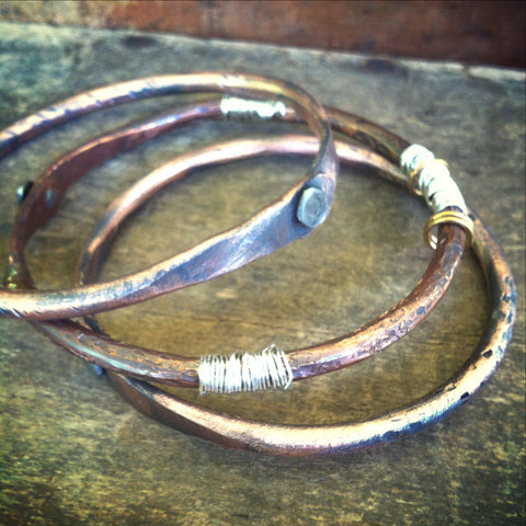 Copper Bangle Stacking Bracelet - Textured and Rustic
