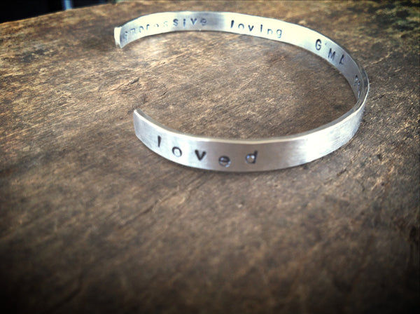 Sterling Silver I Am Loved - Secret Message Quote Bracelet - Personalized Affirmation