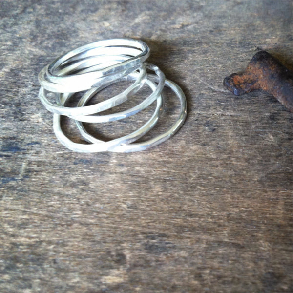 Stacking Rings Set of 6 Sterling Silver Bands