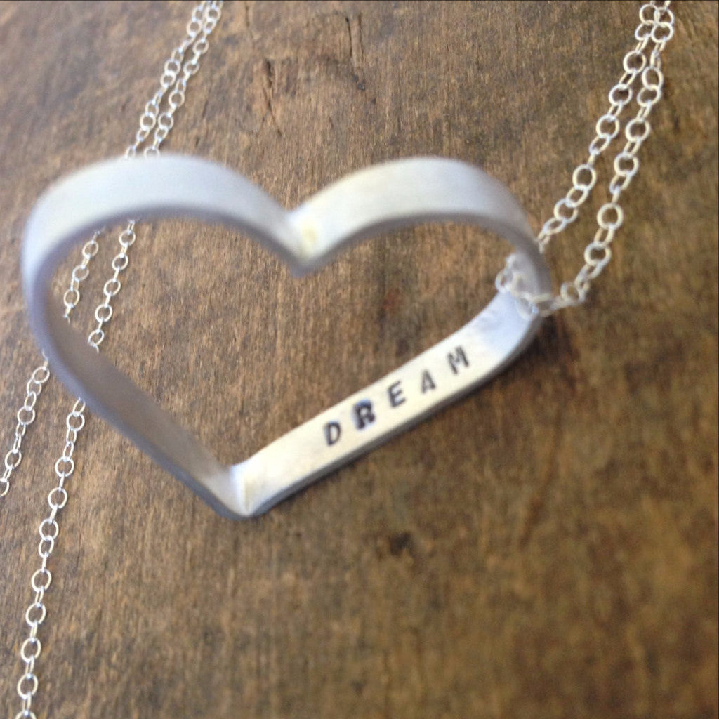 Personalized Heart Necklace - Hand Stamped with Your Choice of Words - Sterling Silver