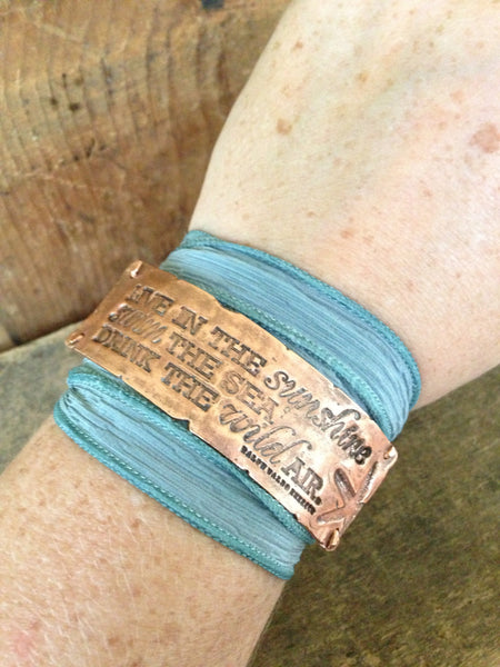 Quote Bracelet, Nature Inspired Copper Wrap Jewelry