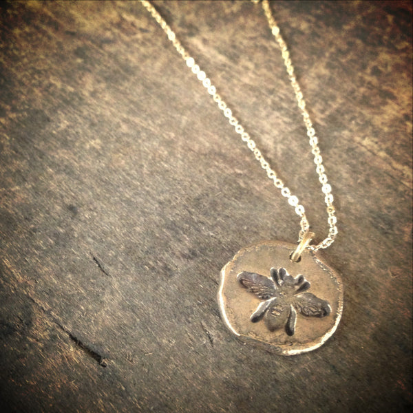 Bee Pendant - Rustic Gold, Insect Jewelry