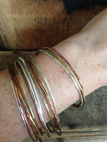 Mixed Metal Stacking Bangle - Set of 3