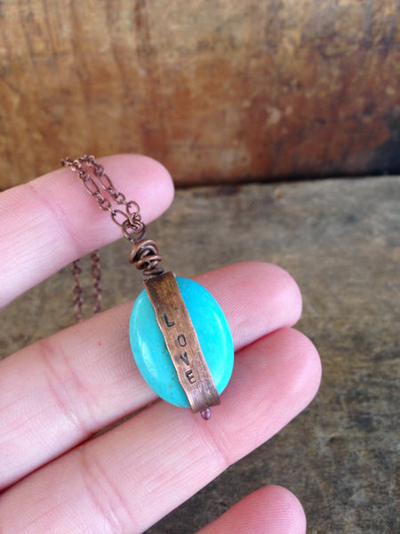 Turquoise and Oxidized Copper Inspiration Quote Necklace