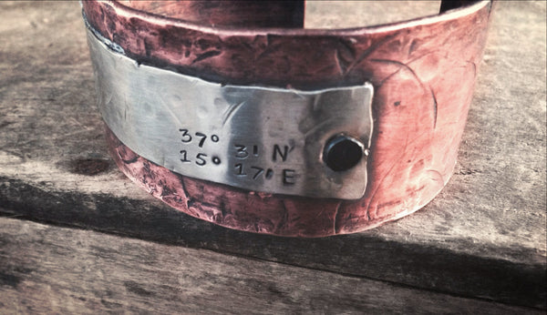Men's Coordinate Cuff Bracelet - Personalized Copper Jewelry - Mixed Metal