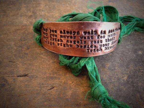 St. Patrick's Day Irish Blessing in Copper Bracelet with Silk Ribbon