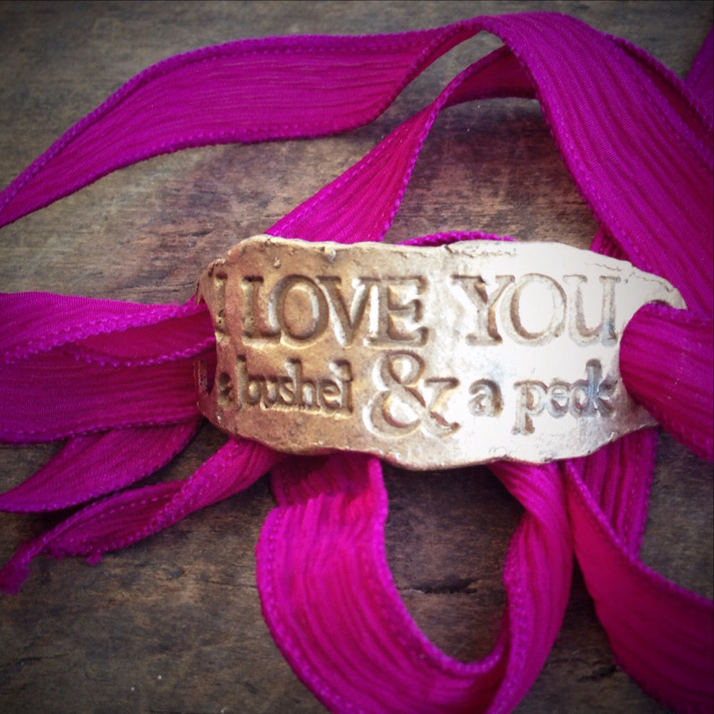 I Love You a Bushel and a Peck - Silk Wrap Bracelet in Rustic Bronze