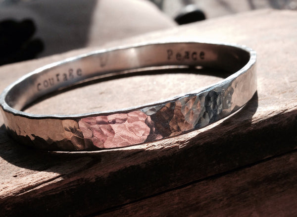 Personalized Thick Silver Bracelet, Stamped with Your Wording, Heavy Artisan Made Jewelry, Sterling Silver Bangle