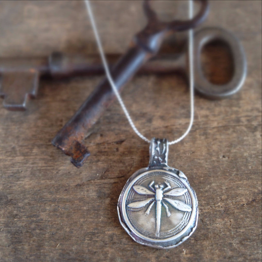 Dragonfly Rustic Wax Seal Necklace in Handmade Fine Silver