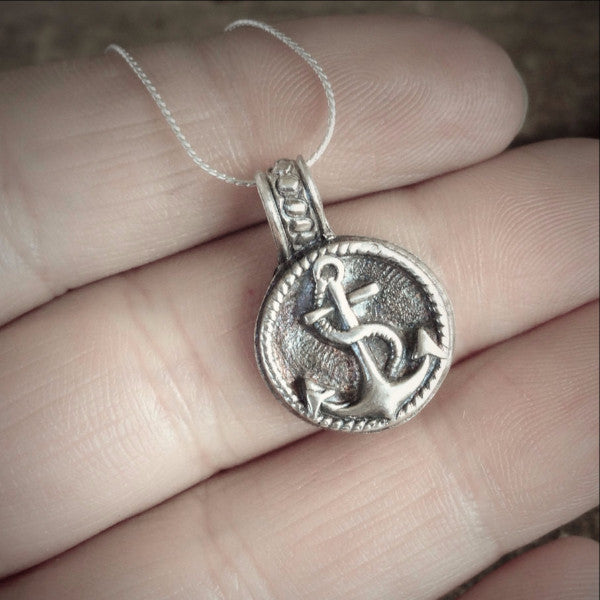 Tiny Anchor Pendant, Fine Silver