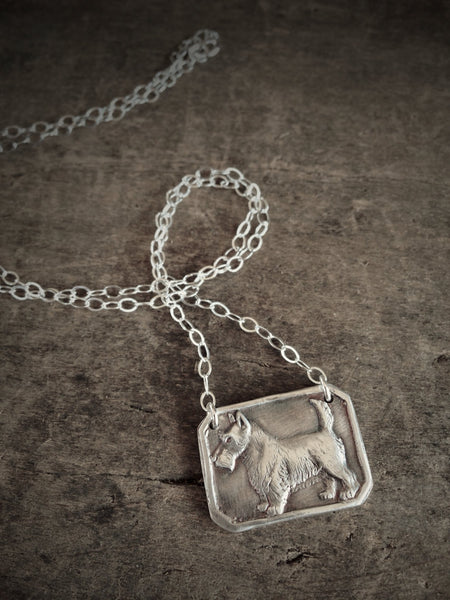 Scotty Dog Necklace, Antiqued Silver