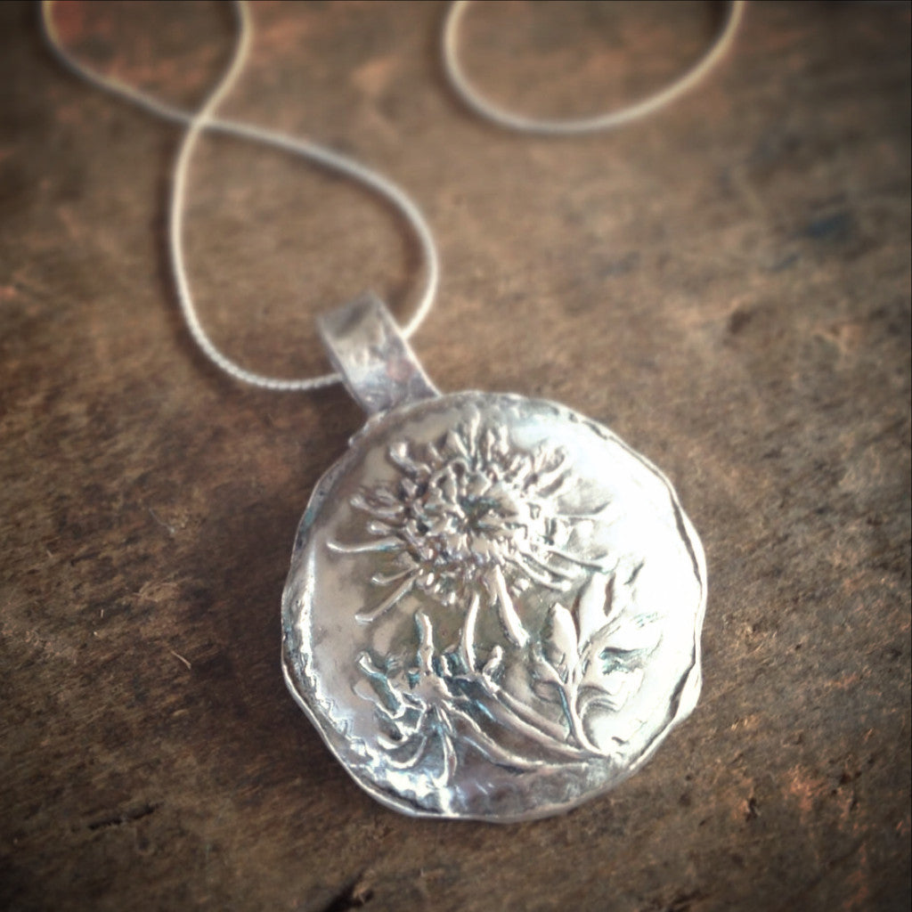 Handmade Botanical Necklace, Rustic Antiqued Silver, Flower Jewelry