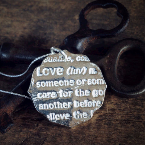 Definition of Love, Dictionary Jewelry in Pure Silver