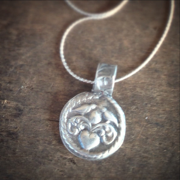 Love Birds Wax Seal Necklace in Handmade Fine Silver, Tiny Pendant