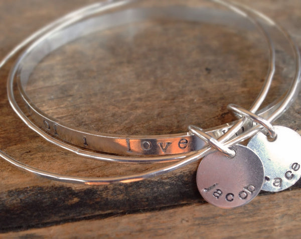 Personalized Quote Bracelet Stacking Jewelry, Mommy Jewelry, Sterling Silver