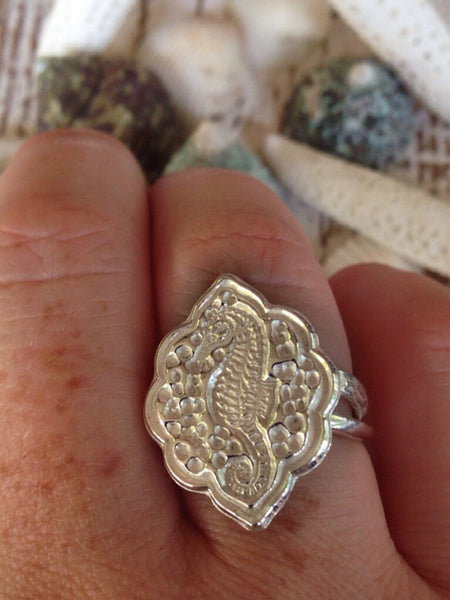 Seahorse Beach Jewelry, Sterling Ring, Silver Ocean Adjustable Ring
