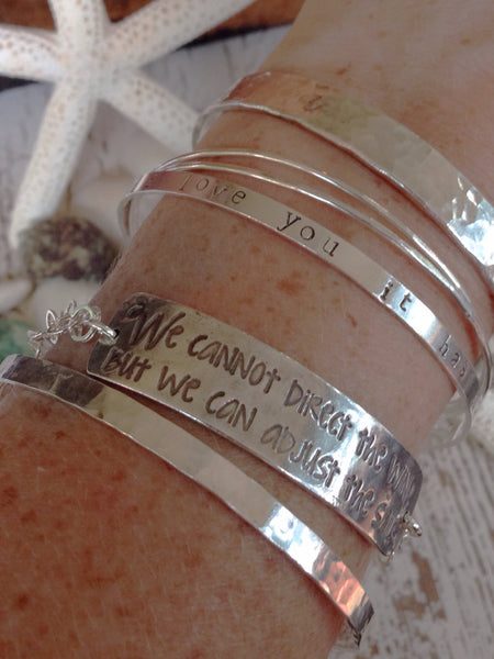 Silver Quote Bracelet,  Beach Ocean Jewelry