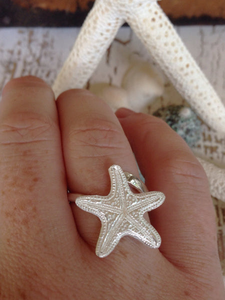 Silver Starfish Ring, beach jewelry, Boho Ocean Jewelry, Adjustable Ring