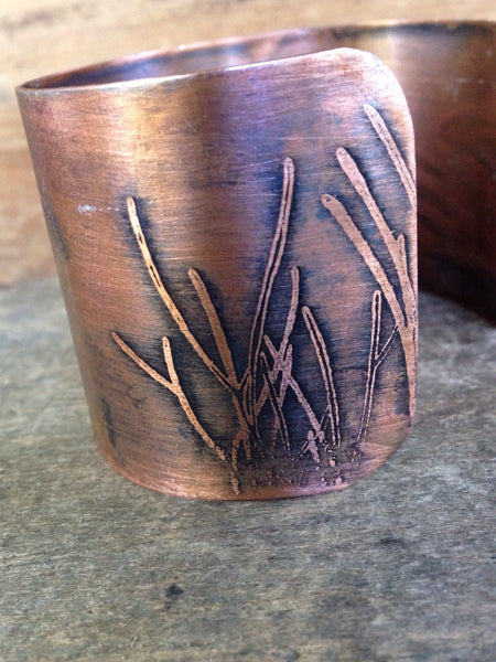 Mermaid Copper Cuff - Etched Copper Cuff, Boho Beach Chic Bracelet