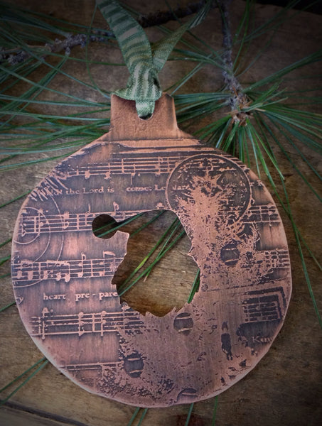 Vintage Santa Handmade Ornament, Etched Copper, Hand Sawed Design