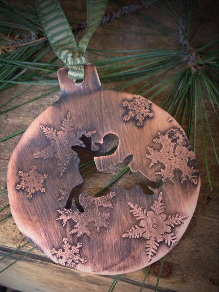 Handmade Reindeer Ornament, Rustic Etched Copper Christmas Decoration