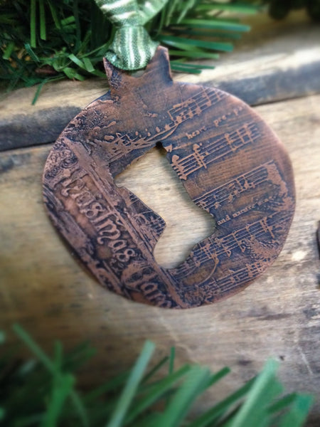Unique Copper Handmade Ornament, Etched Copper Decoration with Hand Cut Stocking