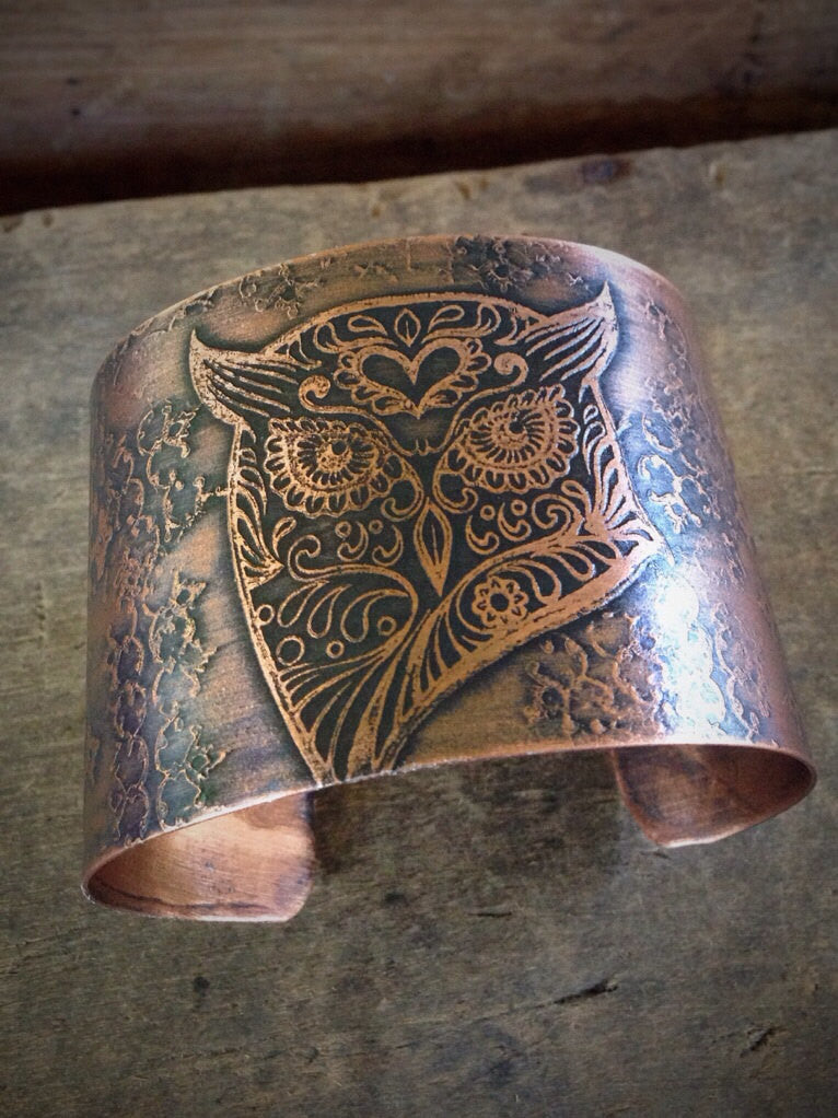 Wide Copper Cuff, Stylized Owl Etched Copper Cuff, Boho Chic Bracelet