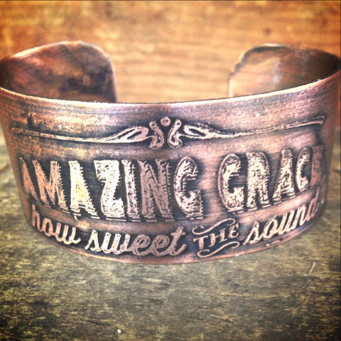 Amazing Grace Etched Copper Cuff