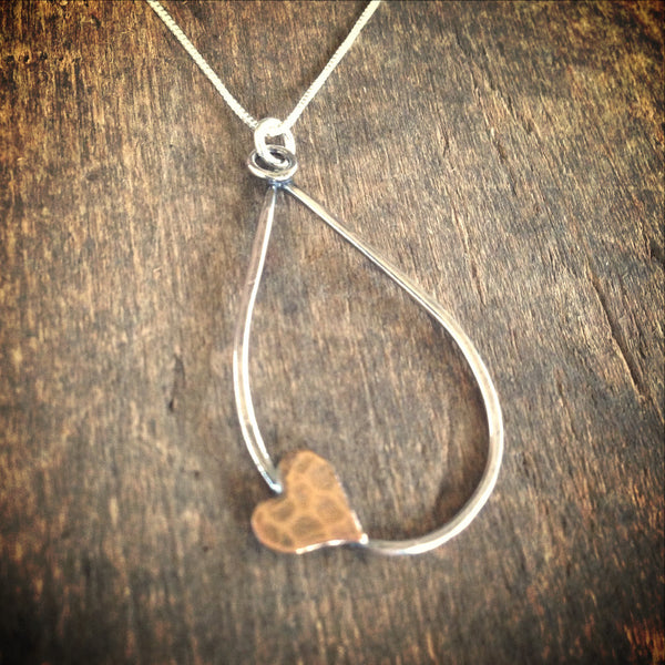 Heart Necklace, Sterling Silver Mixed Metal Teardrop, Sweetheart Gift Jewelry