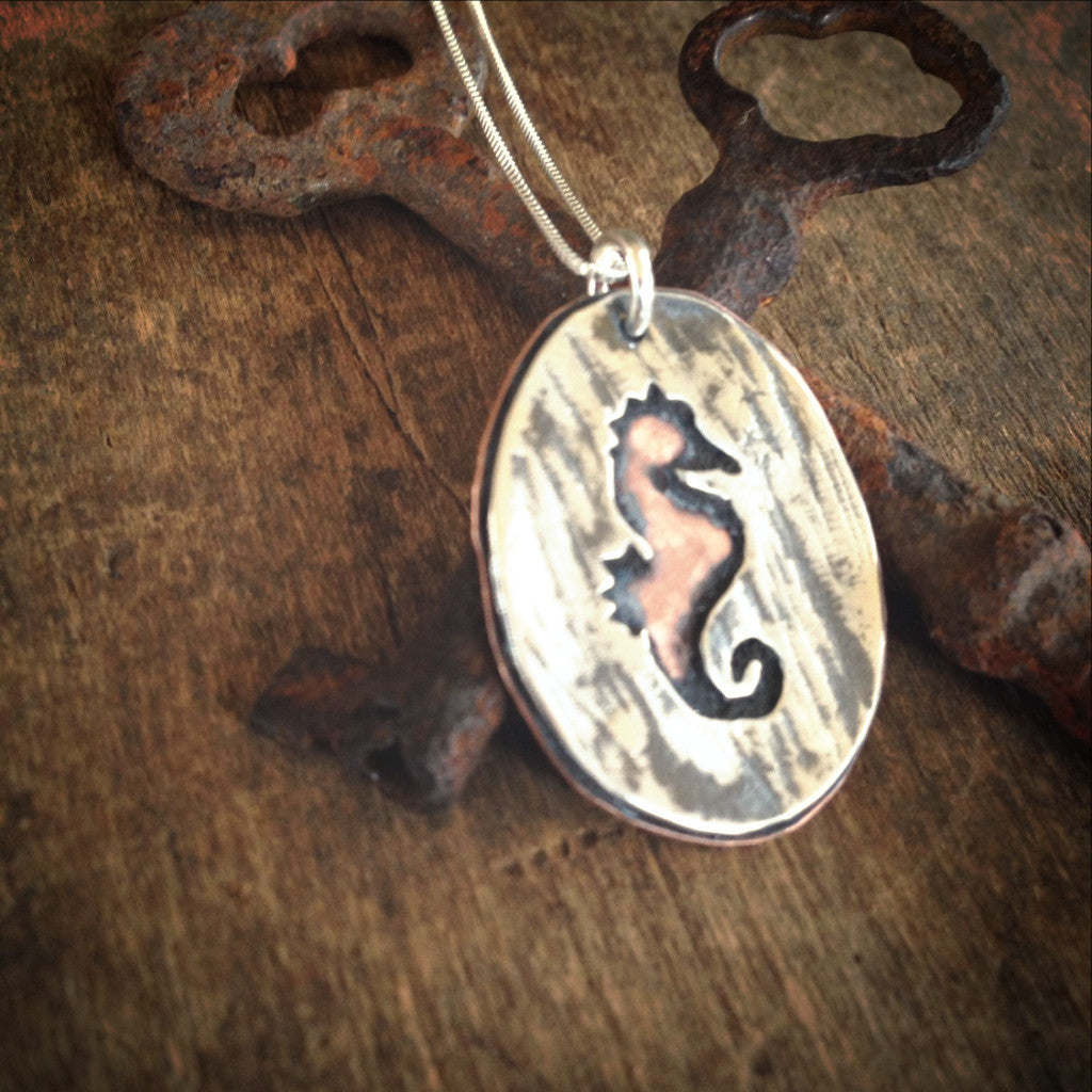 Seahorse Silhouette in Sterling Silver and Copper - Mixed Metal Beach Ocean Jewelry