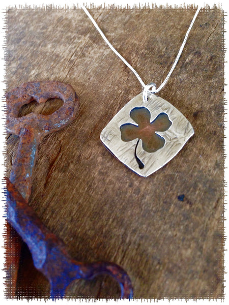 Four Leaf Clover, Shamrock Necklace - St. Patrick's Day Good Luck Jewelry