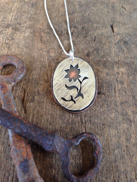 Sterling and Copper Flower Silhouette Necklace - Handmade Pendant Gift