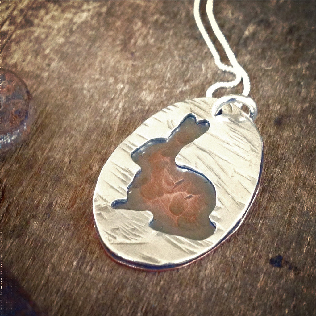 Bunny Silhouette Necklace, Copper and Sterling Silver
