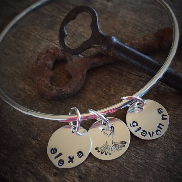 Sterling Bangle Bracelet Personalized Charm Jewlery for Stacking