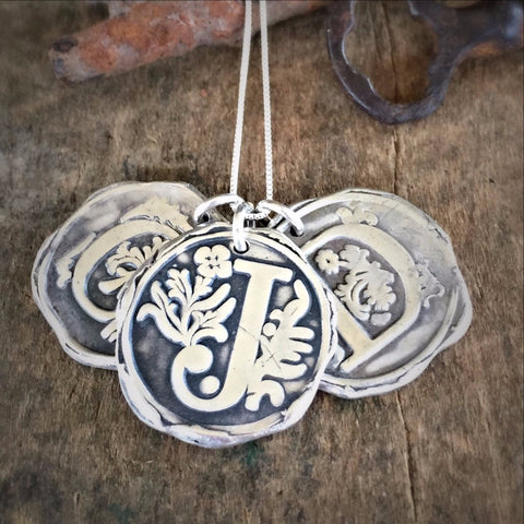 Initial Personalized Wax Seal Necklace in Handmade Fine Silver, Letter Jewelry