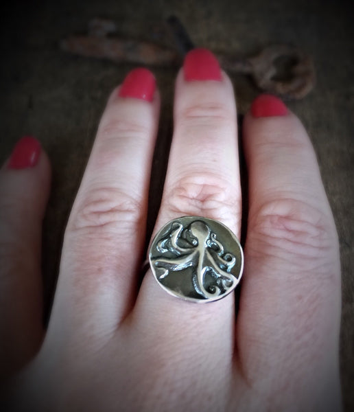 Octopus Jewlery, Steampunk Ring, Ocean Sterling Silver Jewelry