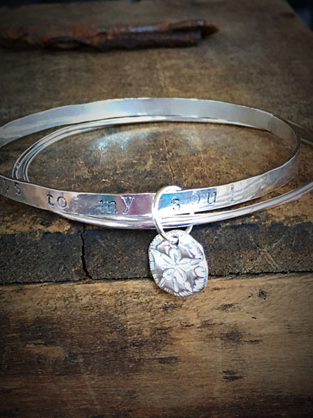 The Voice of the Sea Speaks to My Soul, Bangle Set, Stacking Bracelets, Sterling Silver Beach Jewelry